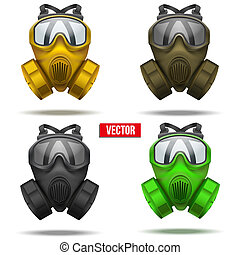 Set of gas mask respirator Vector Illustration - Set of gas...