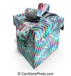 colorful giftbox - a colorful giftbox with a bow 3D render...
