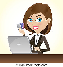 cartoon smart girl with credit cards and laptop