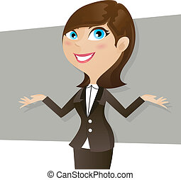 cartoon smart girl in business form - illustration of...
