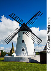 Windmill at Lytham-St-Annes - White painted windmill and...