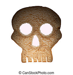 Slice of wholewheat bread in shape of skull - Skull shaped...