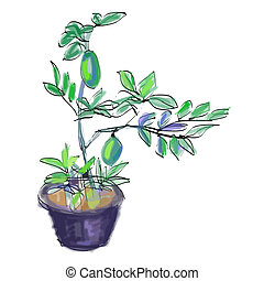 Sketch vector of lemon tree - Sketch vector of lemon grow in...