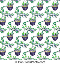 Seamless pattern of lemon tree - Seamless pattern sketch...