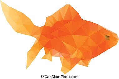 Polygonal Gold Fish - Abstract bright polygonal gold fish on...