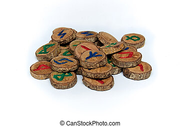hand carved and painted germanic wooden oak runes - Set of...