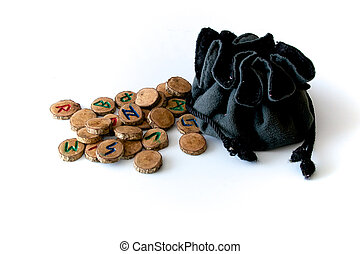 hand carved and painted wooden oak runes with bag - Set of...
