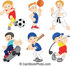 boy cartoon character doing sport - illustration of Funny...