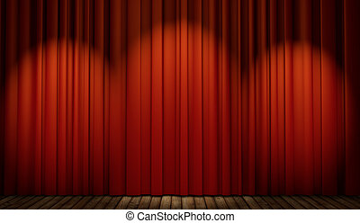 3d stage with red curtain and wooden floor