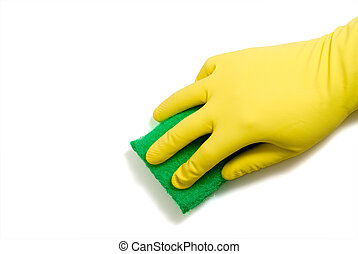 Latex Glove and Sponge - Cleaning with a latex glove and a...