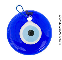 Glass Turkish eye on white background