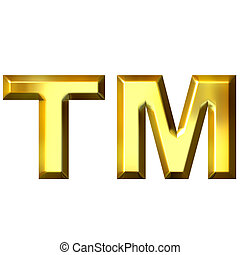 3D Golden Trademark Symbol - 3d golden trademark symbol...