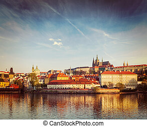 View Gradchany (Prague Castle) and St. Vitus Cathedral over...