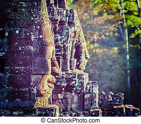 Faces of Bayon temple, Angkor, Cambodia - Vintage retro...