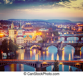 Panoramic view of Prague bridges over Vltava river from...