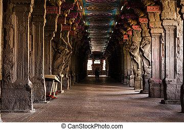 Sri Menakshi Temple - Passage in Sri Menakshi Temple,...