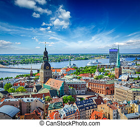 Aerial view of Riga center from St Peters Church, Riga,...