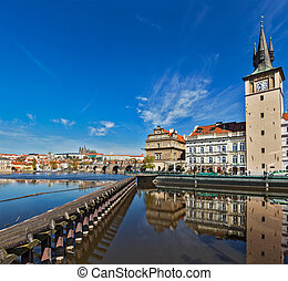 Prague Stare Mesto embankment view from Charles bridge on...