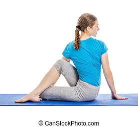 Yoga - young beautiful woman doing yoga asana excerise...