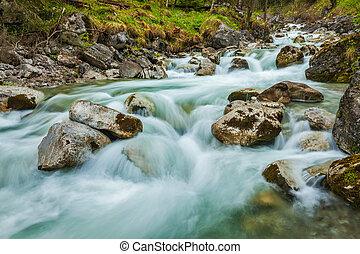Cascade of Kuhfluchtwasserfall Farchant,...