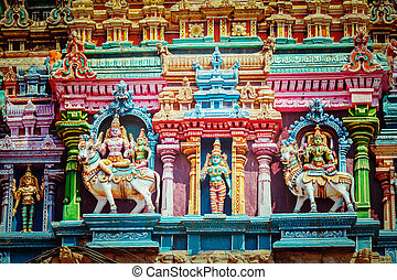 Sculptures on Hindu temple tower - Vintage retro hipster...
