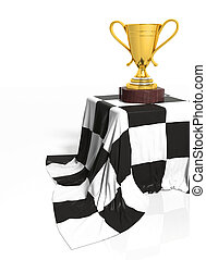 Golden trophy on stand with Formula one flag isolated