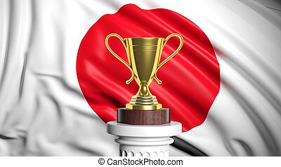 Golden trophy with Japanese flag in background