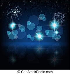 Fireworks Background - Blue Illustration, Vector