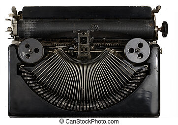 vintage portable typewriter with Cyrillic letters on white -...