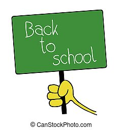 table with back to school message illustration