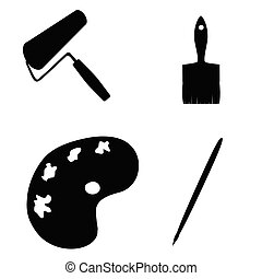 painting tools vector silhouette