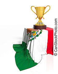 Golden trophy with Mexican flag isolated on white