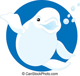 Beluga - Vector clip-art illustration of a friendly smiling...
