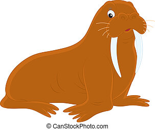 Walrus - Vector clip-art illustration of a big morse