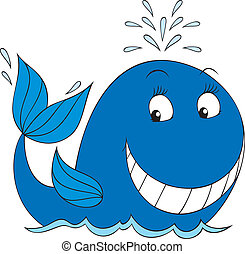 Whale - Vector illustration of a blue whale smiling