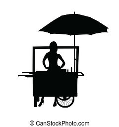 saleswoman from his wheelchair in black vector silhouette