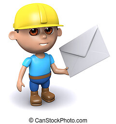 3d Builder has mail - 3d render of a builder holding an...