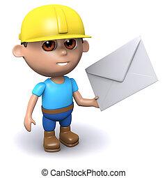 3d Builder has mail - 3d render of a builder holding an...