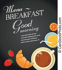 Breakfast menu drawing with chalk on blackboard, croissants,...