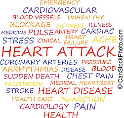 Heart attack word collage concept. Vector illustration.