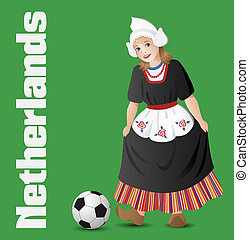 Dutch girl in national costume with soccer ball -...