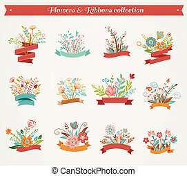 Flowers with ribbons - vector illustrations collection
