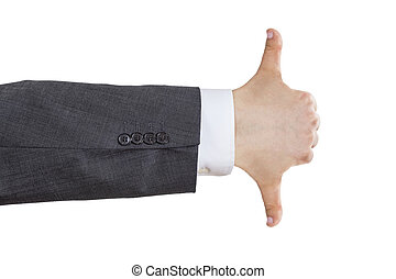 Business man arm undecided gesture