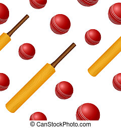 Cricket ball bat seamless backgroung - Vector cricket ball...