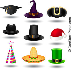 Party hat set - Vector party hat set on white with shadow