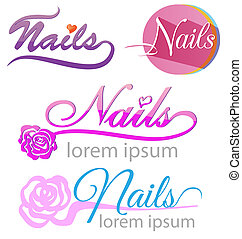 nails saloon symbol set on white background