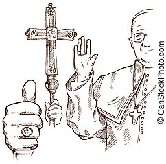 pope hand draw element