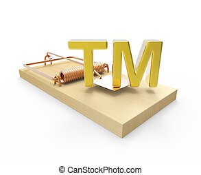 3d Mousetrap with trademark bait - 3d render of a mousetrap...