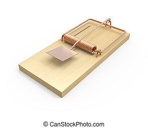 3d Empty mousetrap - 3d render of an empty mousetrap