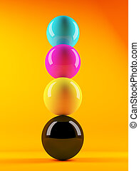 3d Stack of CMYK coloured spheres - 3d render of CMYK...